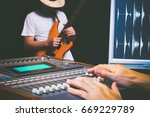 sound engineer hands working on ... | Shutterstock . vector #669229789