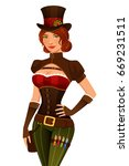 sexy cartoon girl in steampunk... | Shutterstock .eps vector #669231511