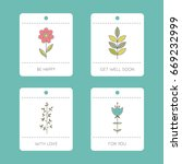 set of vector floral cards.... | Shutterstock .eps vector #669232999