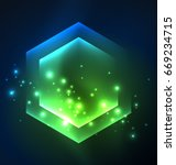 techno glowing glass hexagons