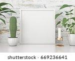 square frame poster mock up... | Shutterstock . vector #669236641