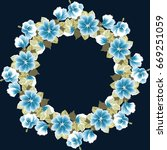 floral round frames from cute... | Shutterstock .eps vector #669251059