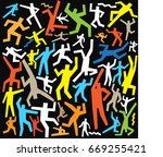 dancing people doodles | Shutterstock .eps vector #669255421