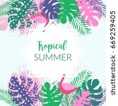 summer tropical banner with... | Shutterstock .eps vector #669259405