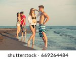 group of friends together on... | Shutterstock . vector #669264484