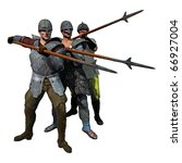 medieval spearmen at the ready  ... | Shutterstock . vector #66927004