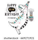 birthday card with dinosaur | Shutterstock .eps vector #669271921