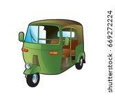 color tuk tuk or three wheeler... | Shutterstock .eps vector #669272224