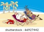 Santa And Reindeer Having A...