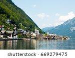 view of famous hallstatt... | Shutterstock . vector #669279475