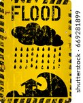 flood warning sign  grungy ... | Shutterstock .eps vector #669281899