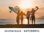 group of happy people walking... | Shutterstock . vector #669288841