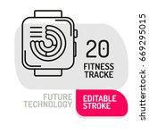 fitness tracker icon. thin line ... | Shutterstock .eps vector #669295015