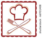 chef hat with knife and fork... | Shutterstock .eps vector #66931408