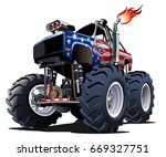 cartoon monster truck.... | Shutterstock .eps vector #669327751