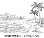 sea bay graphic black white... | Shutterstock .eps vector #669339721