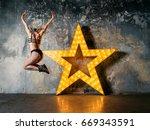 portrait of beautiful...   Shutterstock . vector #669343591
