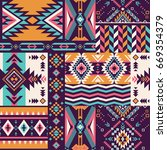 retro colors tribal vector... | Shutterstock .eps vector #669354379