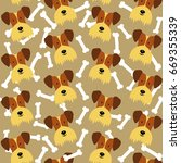 seamless pattern with cute dogs....   Shutterstock .eps vector #669355339