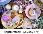 flat lay spa accessories ... | Shutterstock . vector #669359479