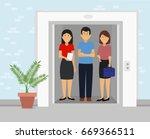 business people standing... | Shutterstock .eps vector #669366511