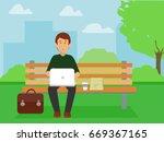 businessman enjoying work... | Shutterstock .eps vector #669367165