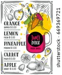 juice menu for restaurant and... | Shutterstock .eps vector #669369721