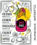 juice menu for restaurant and... | Shutterstock .eps vector #669369721