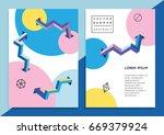 set of trendy hipster posters... | Shutterstock .eps vector #669379924