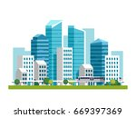 city downtown landscape with... | Shutterstock .eps vector #669397369