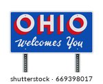 welcome road sign of the state... | Shutterstock .eps vector #669398017