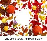 frame of red oak leaves  yellow ... | Shutterstock . vector #669398257