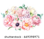 botanical painting  bouquet of... | Shutterstock . vector #669398971