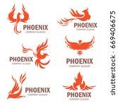 phoenix company slogan set.... | Shutterstock .eps vector #669406675