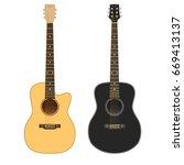 acoustic guitars on white... | Shutterstock .eps vector #669413137
