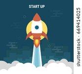 rocket launch business startup...   Shutterstock .eps vector #669414025