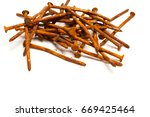 Old Rusty Nails Isolated On...