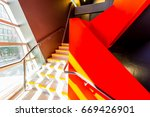 staircase painted in red.... | Shutterstock . vector #669426901