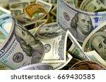 cash dollars in various... | Shutterstock . vector #669430585