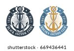 hipster sea emblem with anchor  ... | Shutterstock .eps vector #669436441