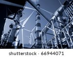 Illustration about classic and modern energy production. - stock photo