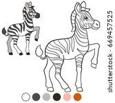 color me  zebra. little cute... | Shutterstock .eps vector #669457525