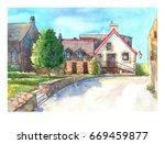 beautiful landscape  old city ... | Shutterstock . vector #669459877