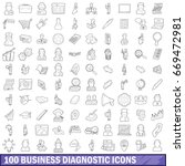 100 business diagnostic icons... | Shutterstock .eps vector #669472981