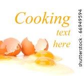 broken eggs isolated on white... | Shutterstock . vector #66949594