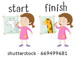 opposite wordcard for start and ... | Shutterstock .eps vector #669499681