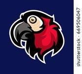 red parrots mascot logo sport... | Shutterstock .eps vector #669506047