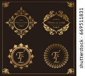 vintage wedding labels vector | Shutterstock .eps vector #669511831