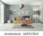the room with card cardboard... | Shutterstock . vector #669517819
