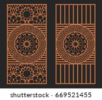 laser cutting set. wall panels. ... | Shutterstock .eps vector #669521455